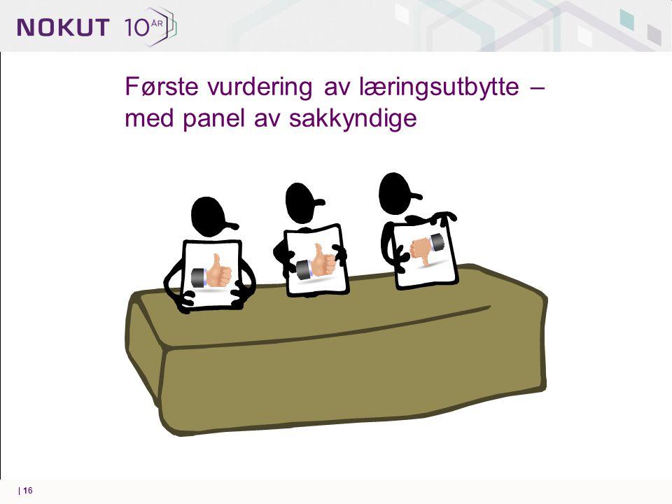 Første vurdering av læringsutbytte – med panel av sakkyndige | 16
