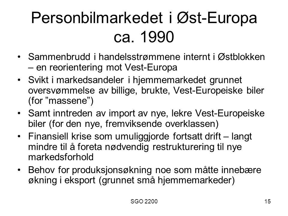 SGO 220015 Personbilmarkedet i Øst-Europa ca. 1990 •Sammenbrudd i handelsstrømmene internt i Østblokken – en reorientering mot Vest-Europa •Svikt i ma
