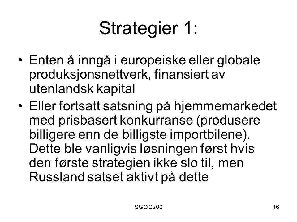 SGO 220016 Strategier 1: •Enten å inngå i europeiske eller globale produksjonsnettverk, finansiert av utenlandsk kapital •Eller fortsatt satsning på h
