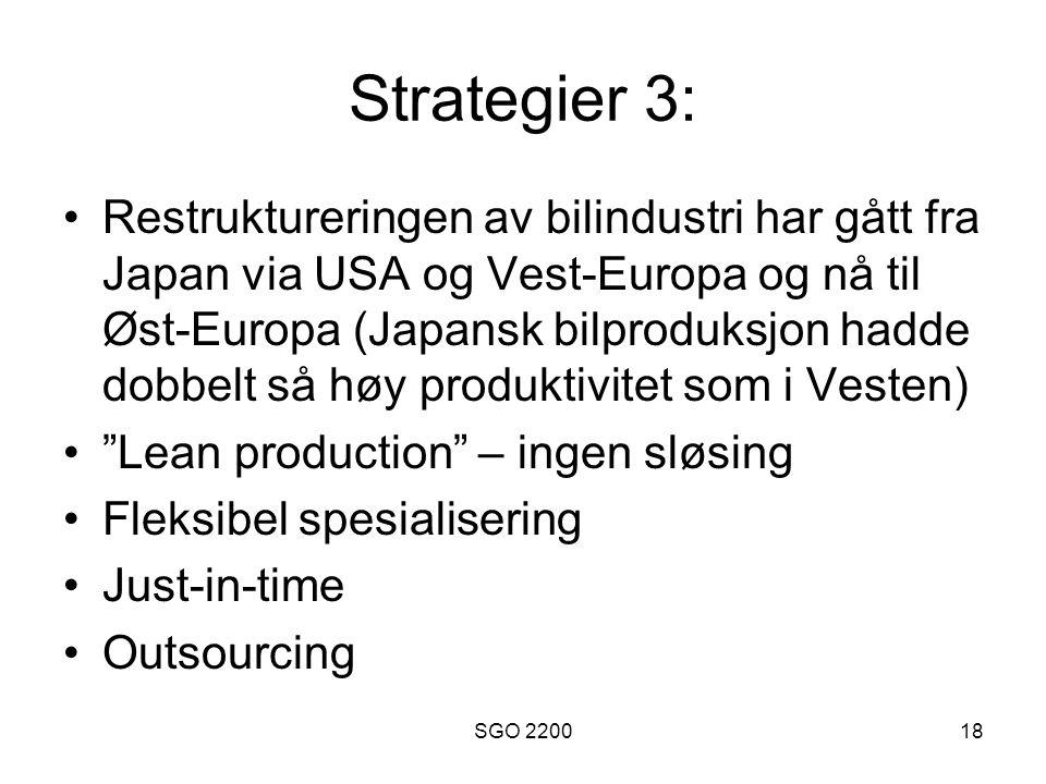 SGO 220018 Strategier 3: •Restruktureringen av bilindustri har gått fra Japan via USA og Vest-Europa og nå til Øst-Europa (Japansk bilproduksjon hadde