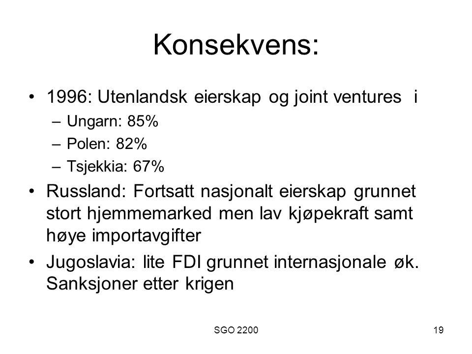 SGO 220019 Konsekvens: •1996: Utenlandsk eierskap og joint ventures i –Ungarn: 85% –Polen: 82% –Tsjekkia: 67% •Russland: Fortsatt nasjonalt eierskap g