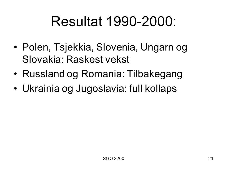 SGO 220021 Resultat 1990-2000: •Polen, Tsjekkia, Slovenia, Ungarn og Slovakia: Raskest vekst •Russland og Romania: Tilbakegang •Ukrainia og Jugoslavia