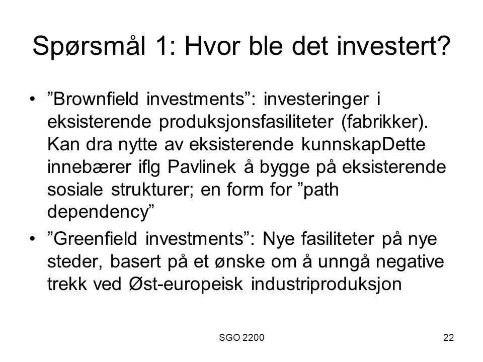 """SGO 220022 Spørsmål 1: Hvor ble det investert? •""""Brownfield investments"""": investeringer i eksisterende produksjonsfasiliteter (fabrikker). Kan dra nyt"""