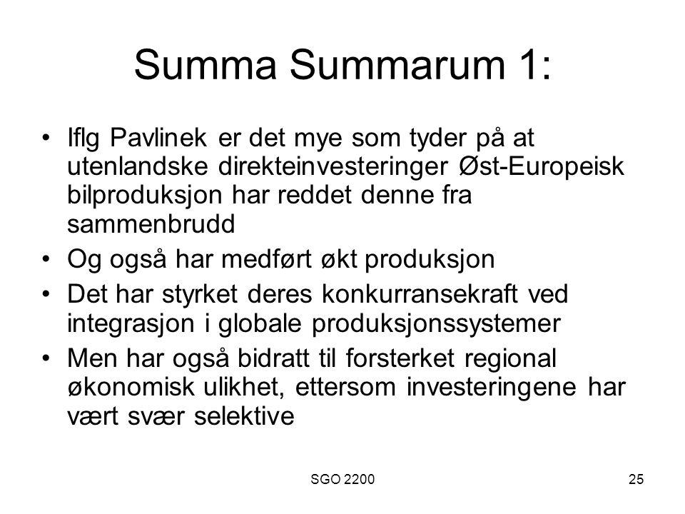SGO 220025 Summa Summarum 1: •Iflg Pavlinek er det mye som tyder på at utenlandske direkteinvesteringer Øst-Europeisk bilproduksjon har reddet denne f