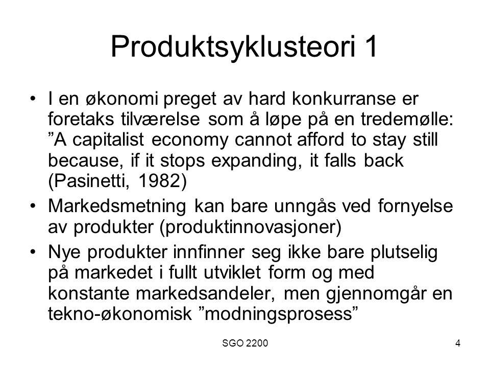 """SGO 22004 Produktsyklusteori 1 •I en økonomi preget av hard konkurranse er foretaks tilværelse som å løpe på en tredemølle: """"A capitalist economy cann"""
