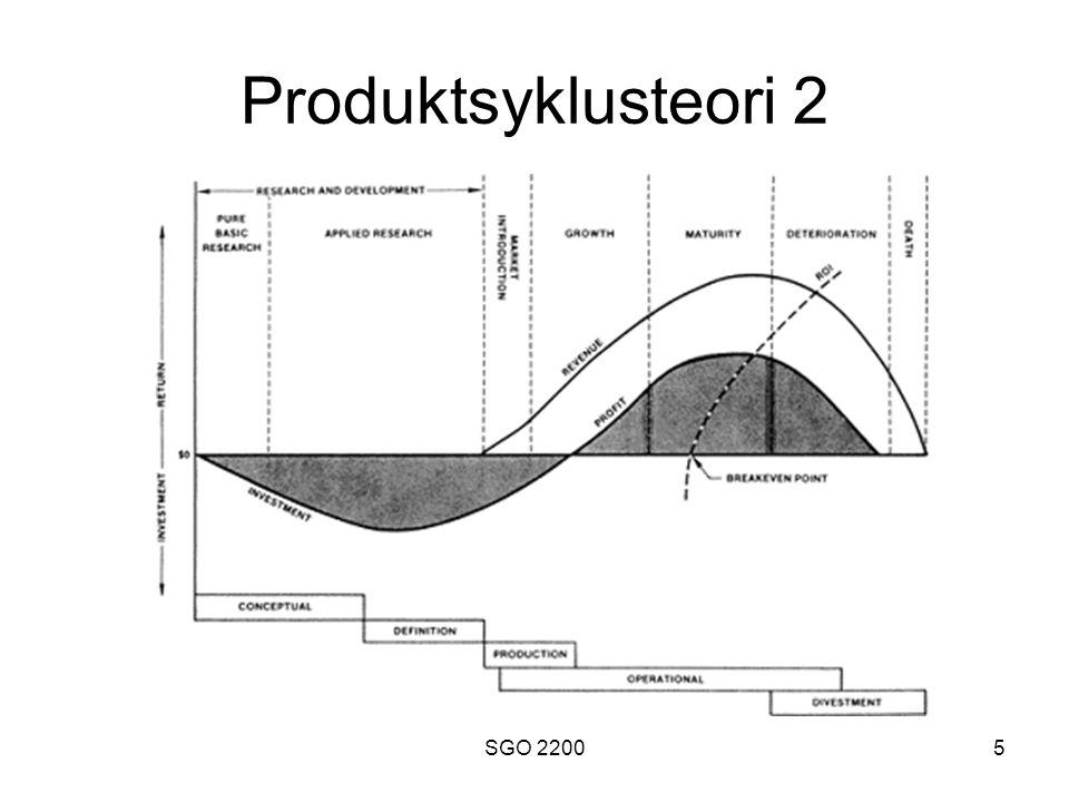 SGO 22006 Produktsyklusteori 3 •Peker mot følgende overlevelsesststrategier : –Nye produkter må introduseres når de foregående blir avlegse –Søke å forlenge livssyklusen til et produkt ved å foreta modifikasjoner (eks.