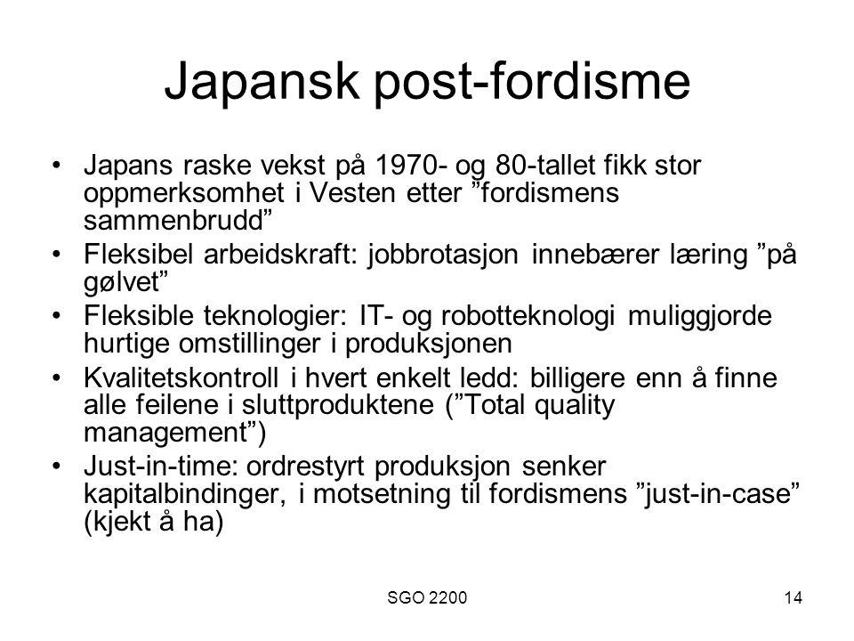 """SGO 220014 Japansk post-fordisme •Japans raske vekst på 1970- og 80-tallet fikk stor oppmerksomhet i Vesten etter """"fordismens sammenbrudd"""" •Fleksibel"""