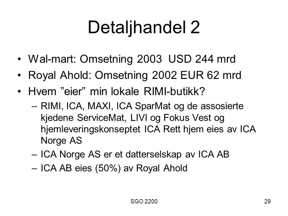 """SGO 220029 Detaljhandel 2 •Wal-mart: Omsetning 2003 USD 244 mrd •Royal Ahold: Omsetning 2002 EUR 62 mrd •Hvem """"eier"""" min lokale RIMI-butikk? –RIMI, IC"""