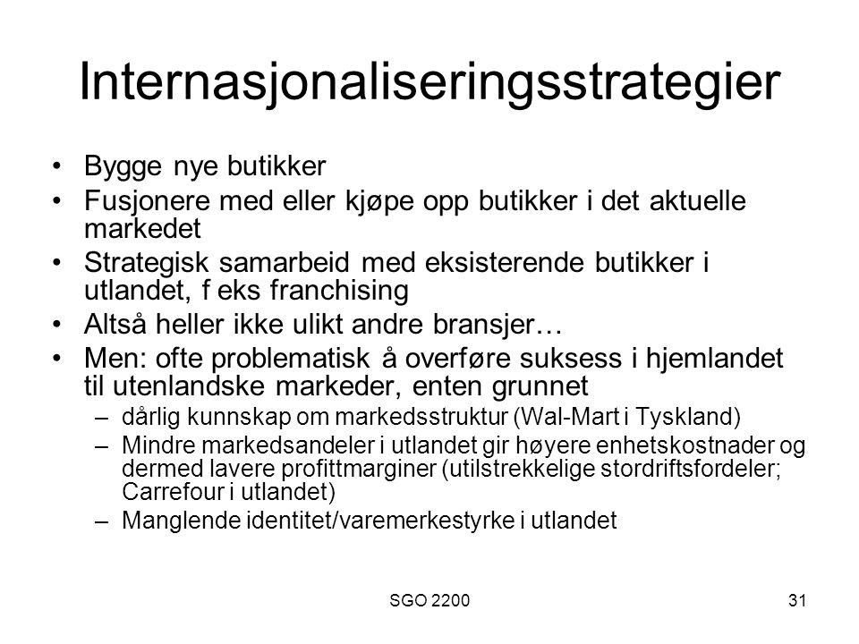 SGO 220031 Internasjonaliseringsstrategier •Bygge nye butikker •Fusjonere med eller kjøpe opp butikker i det aktuelle markedet •Strategisk samarbeid m