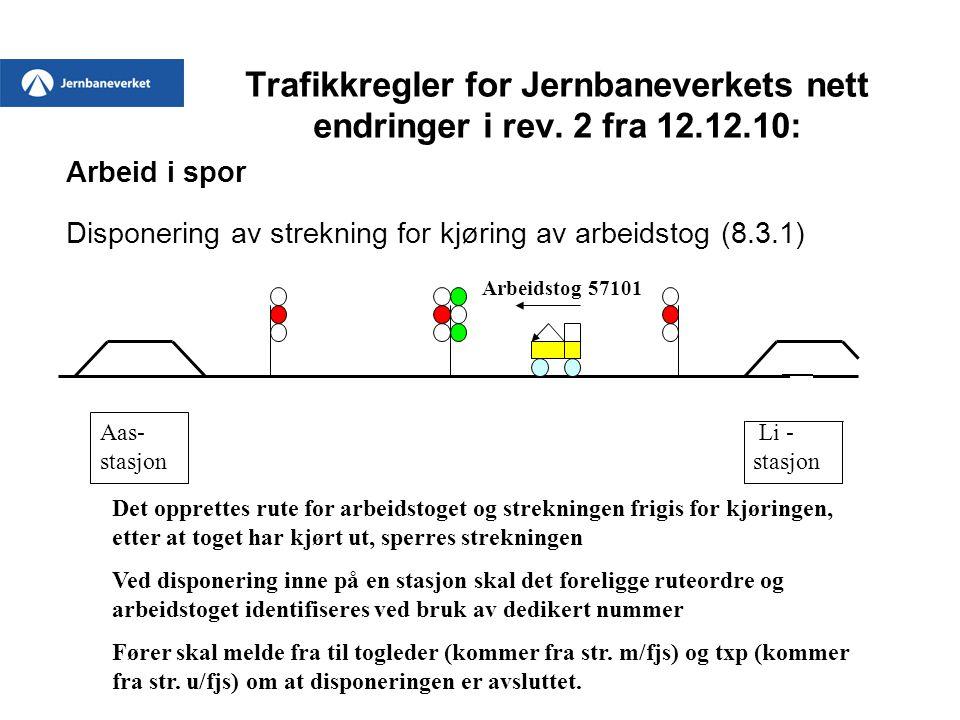 Trafikkregler for Jernbaneverkets nett endringer i rev. 2 fra 12.12.10: Arbeid i spor Disponering av strekning for kjøring av arbeidstog (8.3.1) Aas-