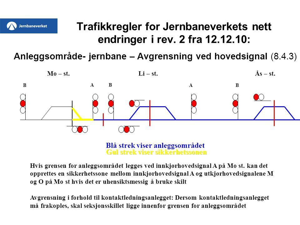 Trafikkregler for Jernbaneverkets nett endringer i rev. 2 fra 12.12.10: Anleggsområde- jernbane – Avgrensning ved hovedsignal (8.4.3) Mo – st. Li – st