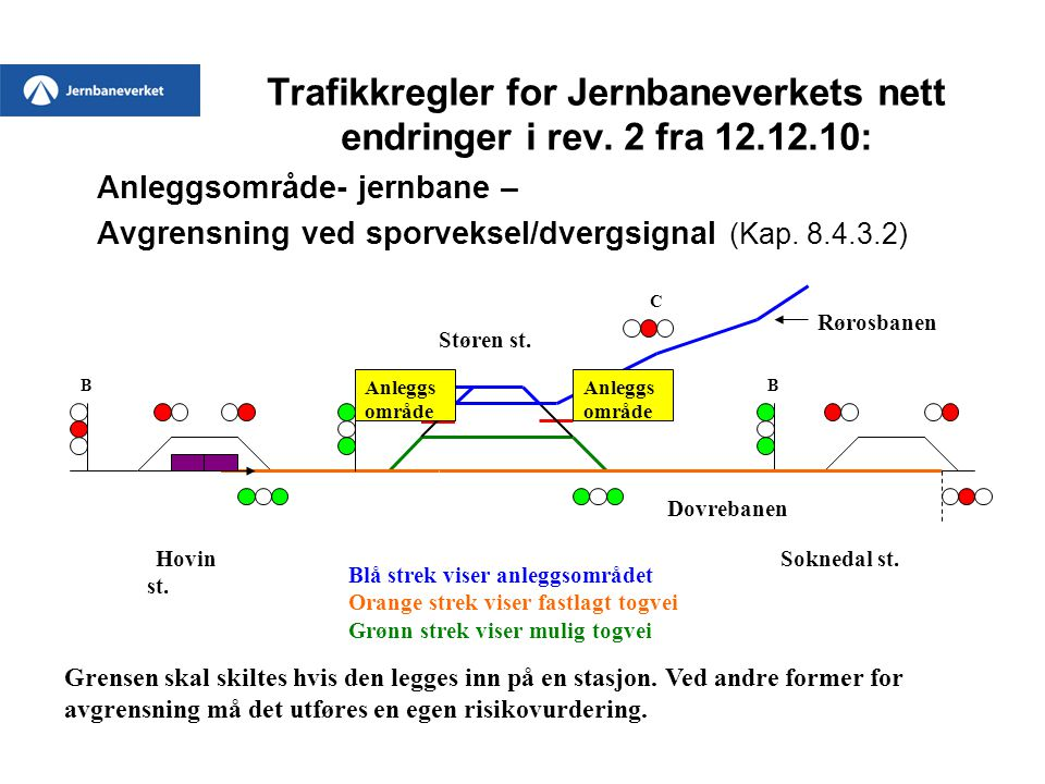 Trafikkregler for Jernbaneverkets nett endringer i rev. 2 fra 12.12.10: Anleggsområde- jernbane – Avgrensning ved sporveksel/dvergsignal (Kap. 8.4.3.2