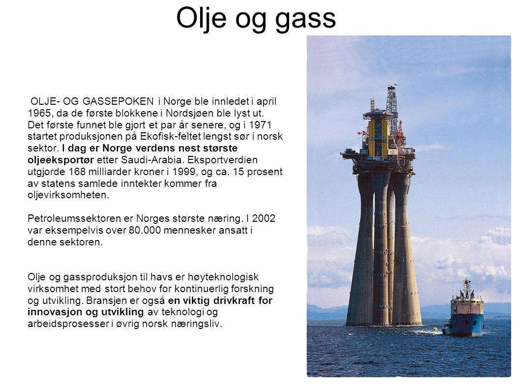 Olje og gass OLJE- OG GASSEPOKEN i Norge ble innledet i april 1965, da de første blokkene i Nordsjøen ble lyst ut.