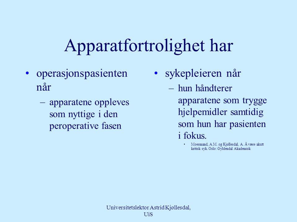 Universitetslektor Astrid Kjøllesdal, UiS Apparatfortrolighet •er et nivå for mestring av teknologi •kan oppnås av både pasient, pårørende og spesialsykepleieren •Kjøllesdal,, A (2004) Teknologi.