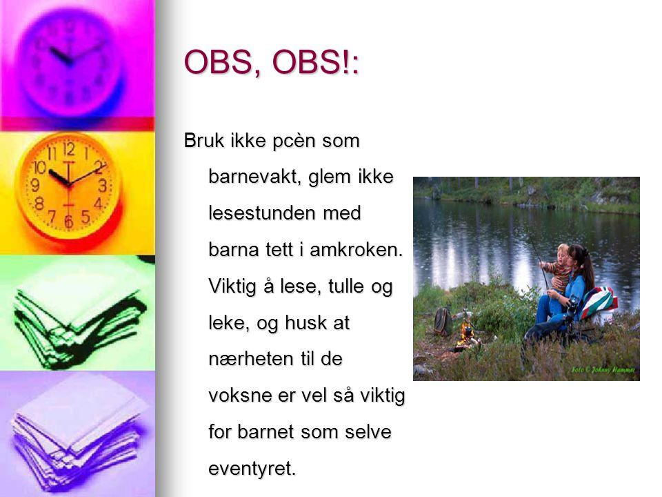 OBS, OBS!: Bruk ikke pcèn som barnevakt, glem ikke lesestunden med barna tett i amkroken. Viktig å lese, tulle og leke, og husk at nærheten til de vok
