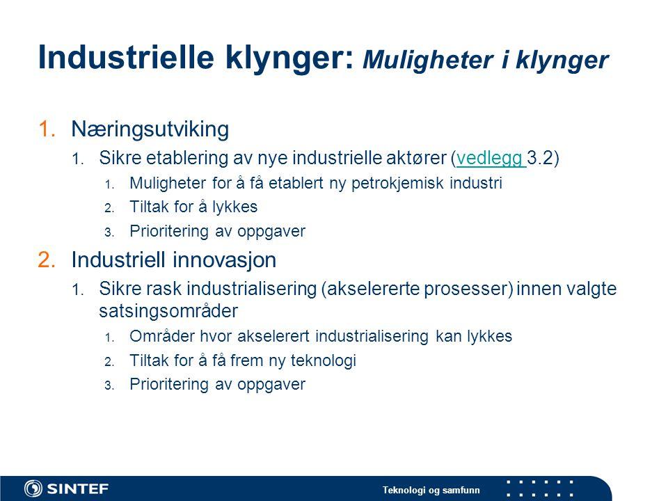 Teknologi og samfunn Industrielle klynger: Muligheter i klynger 1.Næringsutviking 1. Sikre etablering av nye industrielle aktører (vedlegg 3.2)vedlegg