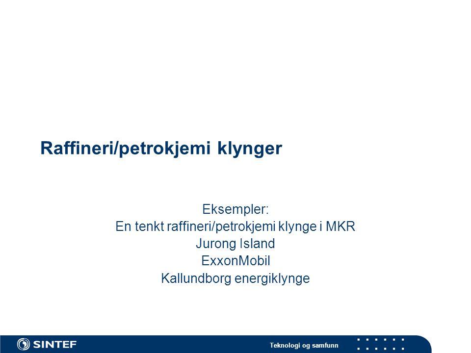 Teknologi og samfunn Raffineri/petrokjemi klynger Eksempler: En tenkt raffineri/petrokjemi klynge i MKR Jurong Island ExxonMobil Kallundborg energikly