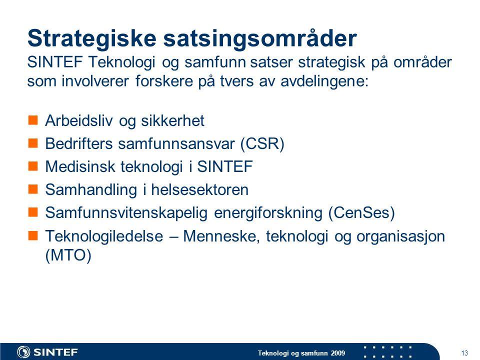 Teknologi og samfunn 2009 13 Strategiske satsingsområder SINTEF Teknologi og samfunn satser strategisk på områder som involverer forskere på tvers av avdelingene:  Arbeidsliv og sikkerhet  Bedrifters samfunnsansvar (CSR)  Medisinsk teknologi i SINTEF  Samhandling i helsesektoren  Samfunnsvitenskapelig energiforskning (CenSes)  Teknologiledelse – Menneske, teknologi og organisasjon (MTO)