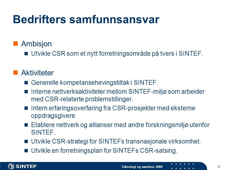 Teknologi og samfunn 2009 15 Bedrifters samfunnsansvar  Ambisjon  Utvikle CSR som et nytt forretningsområde på tvers i SINTEF.  Aktiviteter  Gener