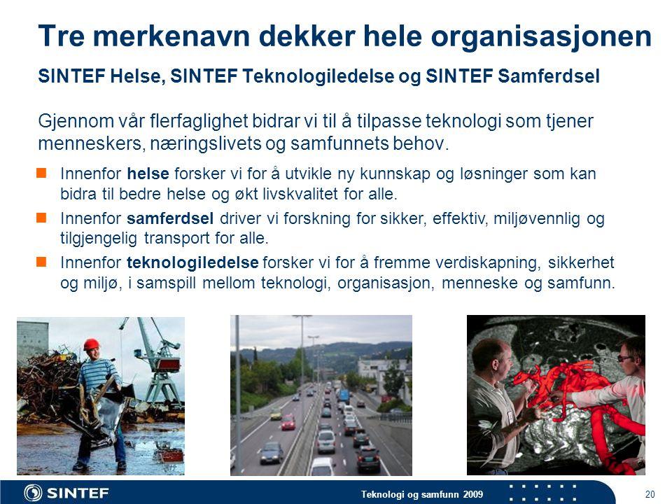 Teknologi og samfunn 2009 20 Tre merkenavn dekker hele organisasjonen SINTEF Helse, SINTEF Teknologiledelse og SINTEF Samferdsel Gjennom vår flerfaglighet bidrar vi til å tilpasse teknologi som tjener menneskers, næringslivets og samfunnets behov.