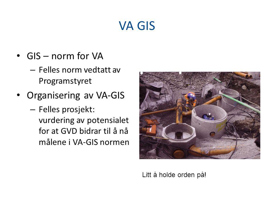 VA GIS • GIS – norm for VA – Felles norm vedtatt av Programstyret • Organisering av VA-GIS – Felles prosjekt: vurdering av potensialet for at GVD bidrar til å nå målene i VA-GIS normen Litt å holde orden på!