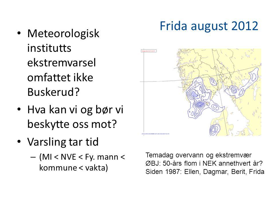 Frida august 2012 • Meteorologisk institutts ekstremvarsel omfattet ikke Buskerud.