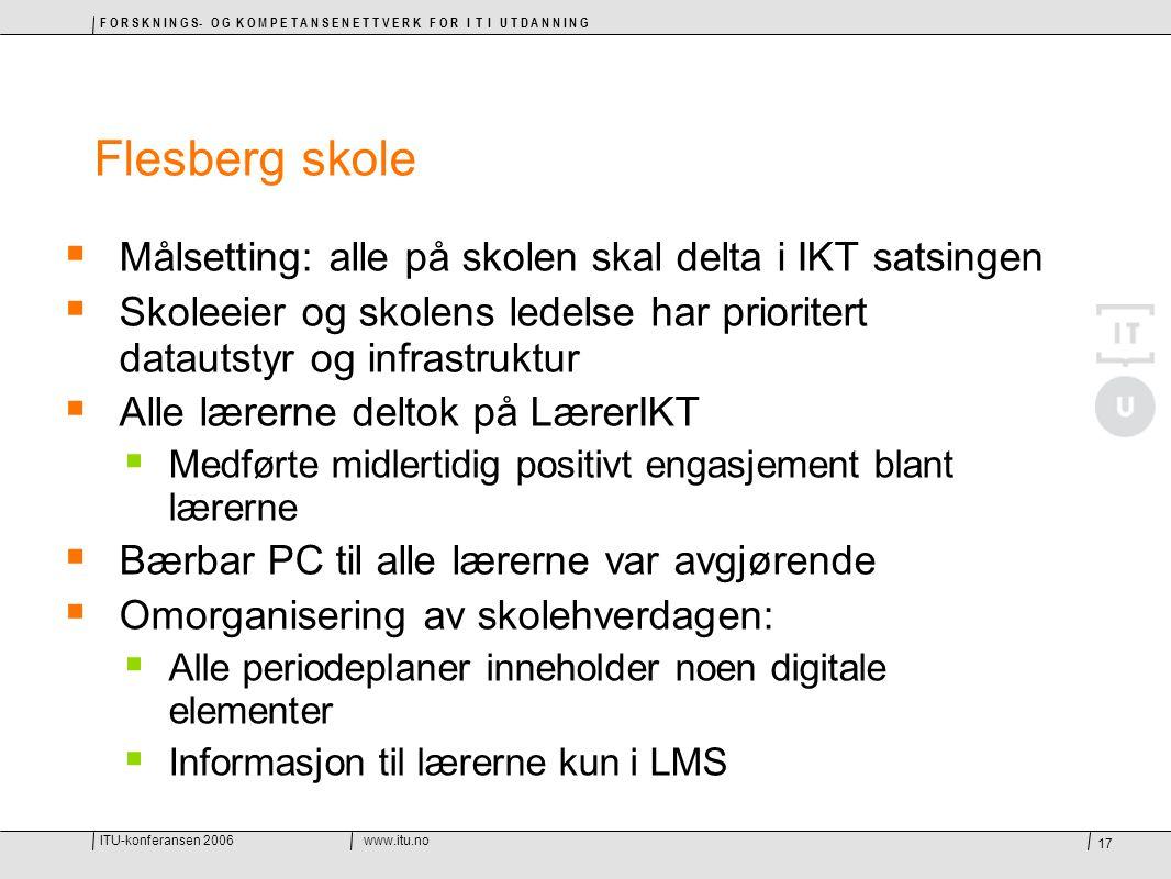 ITU-konferansen 2006www.itu.no F O R S K N I N G S- O G K O M P E T A N S E N E T T V E R K F O R I T I U T D A N N I N G 17 Flesberg skole  Målsetti
