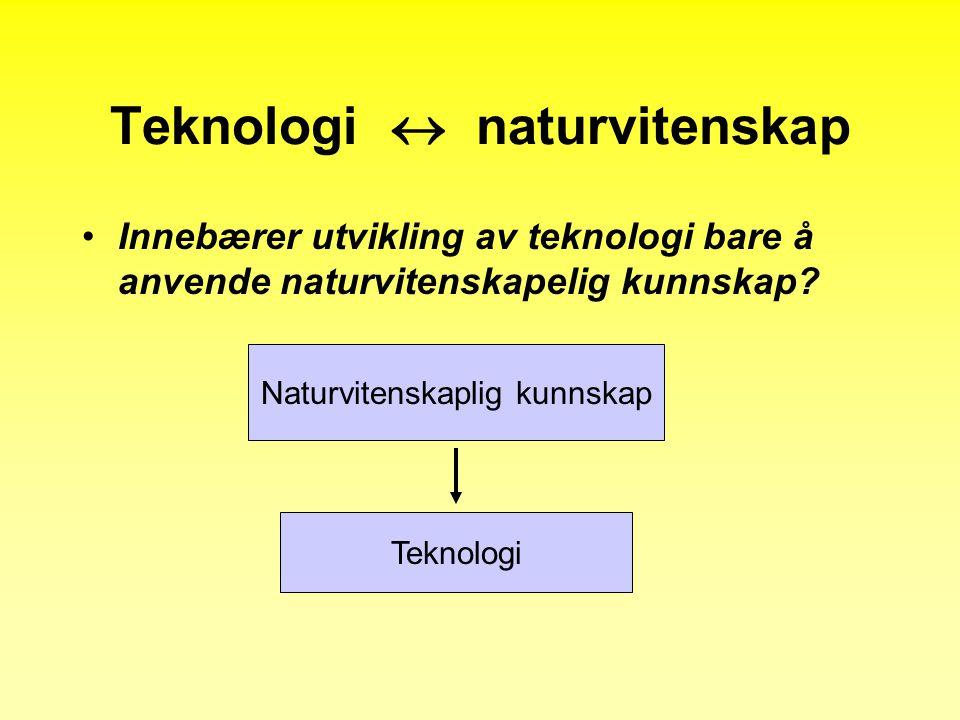 Teknologi  naturvitenskap •Innebærer utvikling av teknologi bare å anvende naturvitenskapelig kunnskap.