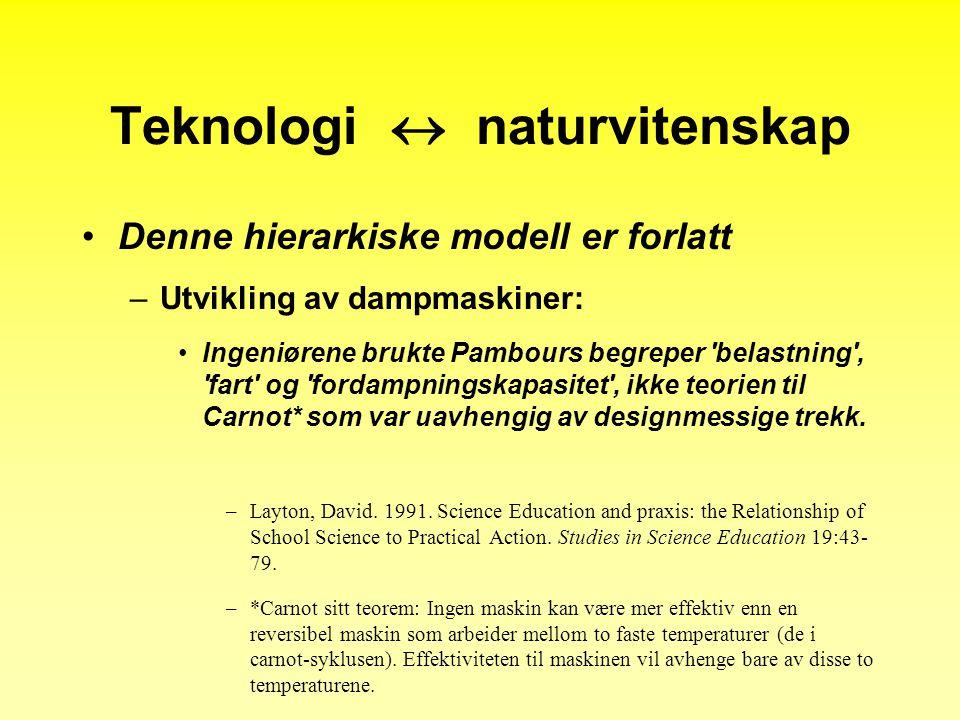 Teknologi  naturvitenskap •Denne hierarkiske modell er forlatt –Utvikling av dampmaskiner: •Ingeniørene brukte Pambours begreper belastning , fart og fordampningskapasitet , ikke teorien til Carnot* som var uavhengig av designmessige trekk.