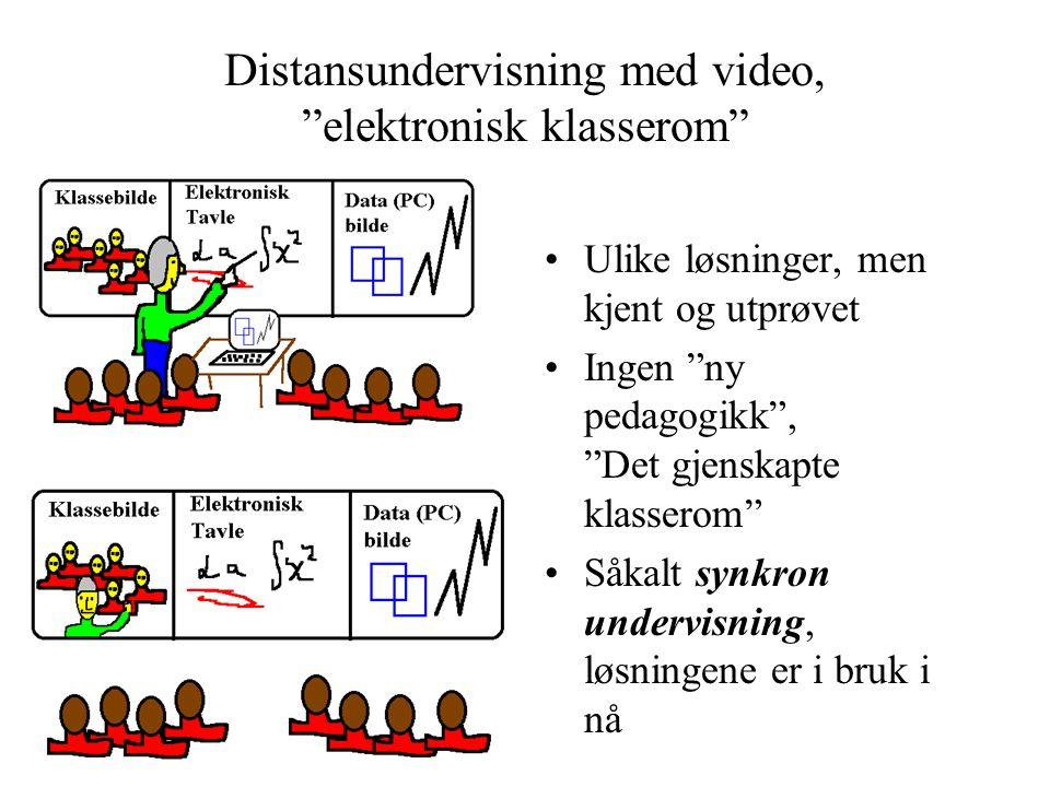 Distansundervisning med video, elektronisk klasserom •Ulike løsninger, men kjent og utprøvet •Ingen ny pedagogikk , Det gjenskapte klasserom •Såkalt synkron undervisning, løsningene er i bruk i nå