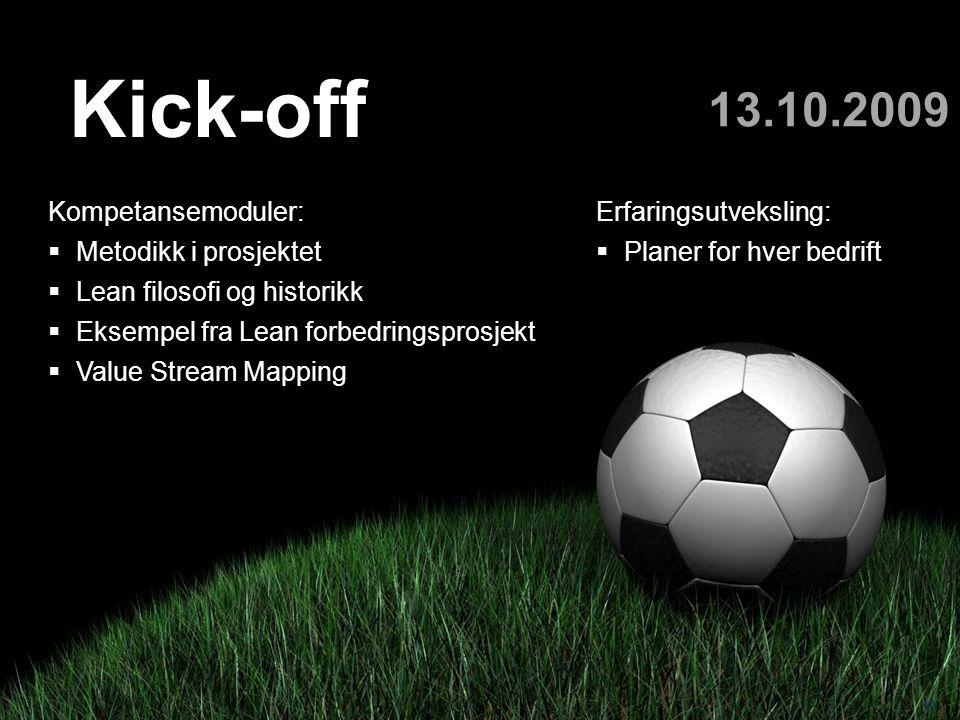 Teknologi og samfunn 10 Kick-off 13.10.2009 Kompetansemoduler:  Metodikk i prosjektet  Lean filosofi og historikk  Eksempel fra Lean forbedringspro
