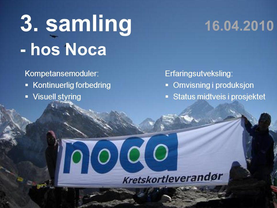 Teknologi og samfunn 12 3. samling - hos Noca 16.04.2010 Kompetansemoduler:  Kontinuerlig forbedring  Visuell styring Erfaringsutveksling:  Omvisni