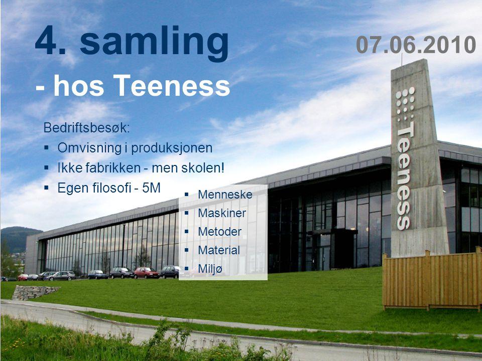 Teknologi og samfunn 13 4. samling - hos Teeness Bedriftsbesøk:  Omvisning i produksjonen  Ikke fabrikken - men skolen!  Egen filosofi - 5M 07.06.2