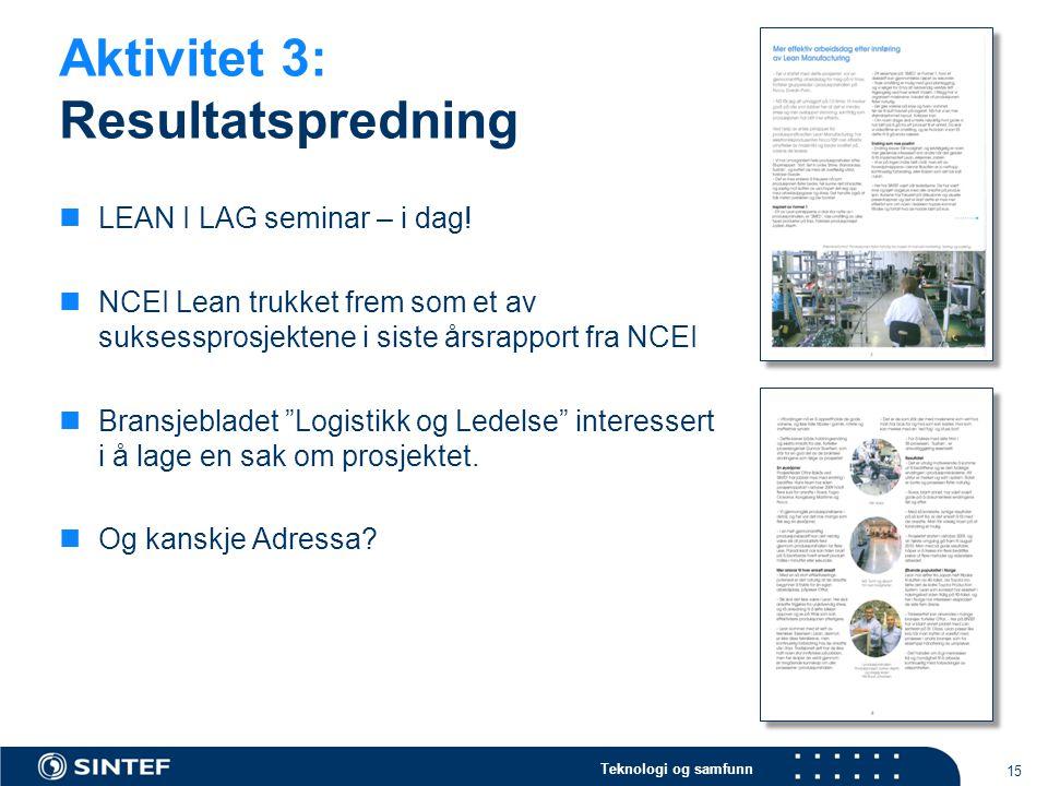 Teknologi og samfunn Aktivitet 3: Resultatspredning 15  LEAN I LAG seminar – i dag!  NCEI Lean trukket frem som et av suksessprosjektene i siste års