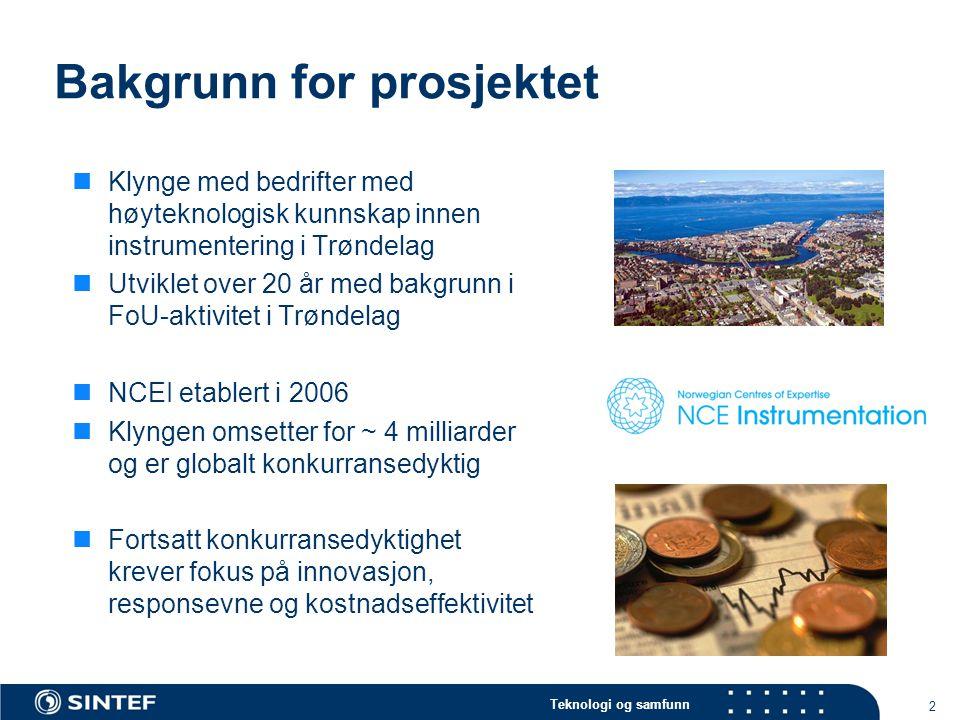 Teknologi og samfunn Bakgrunn for prosjektet  Klynge med bedrifter med høyteknologisk kunnskap innen instrumentering i Trøndelag  Utviklet over 20 å