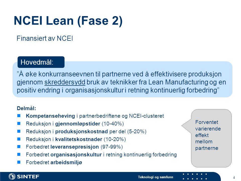 Teknologi og samfunn NCEI Lean (Fase 2) 4 Delmål:  Kompetanseheving i partnerbedriftene og NCEI-clusteret  Reduksjon i gjennomløpstider (10-40%)  R