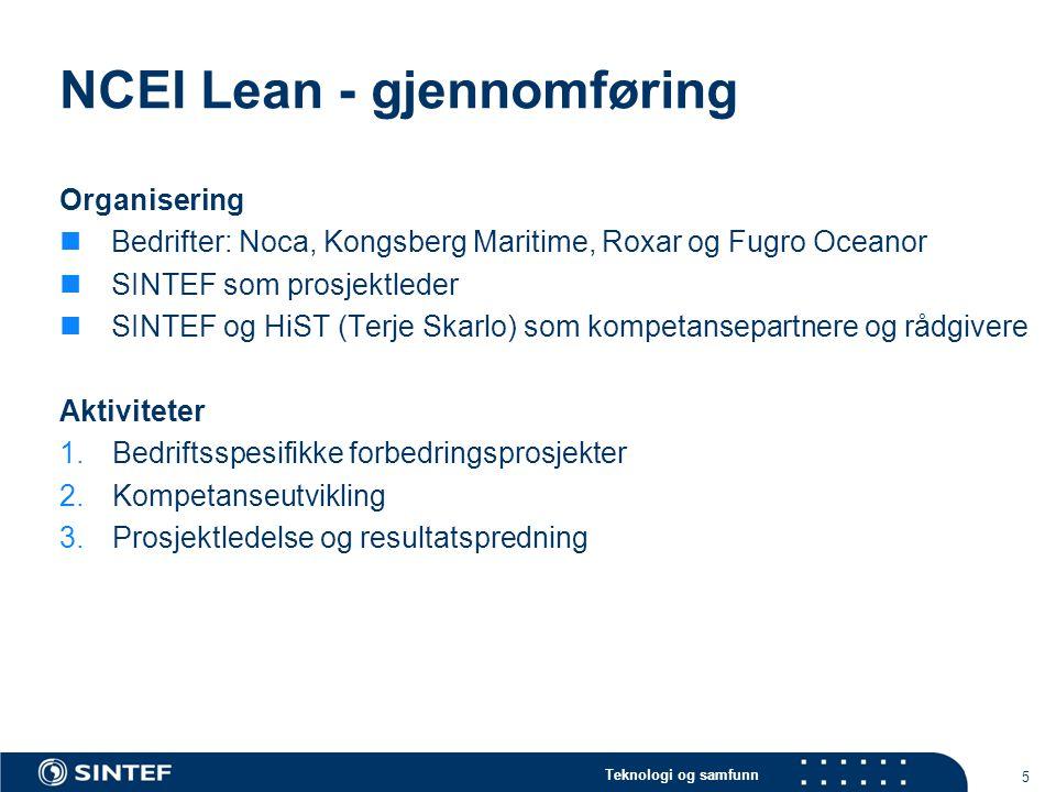 Teknologi og samfunn NCEI Lean - gjennomføring Organisering  Bedrifter: Noca, Kongsberg Maritime, Roxar og Fugro Oceanor  SINTEF som prosjektleder 