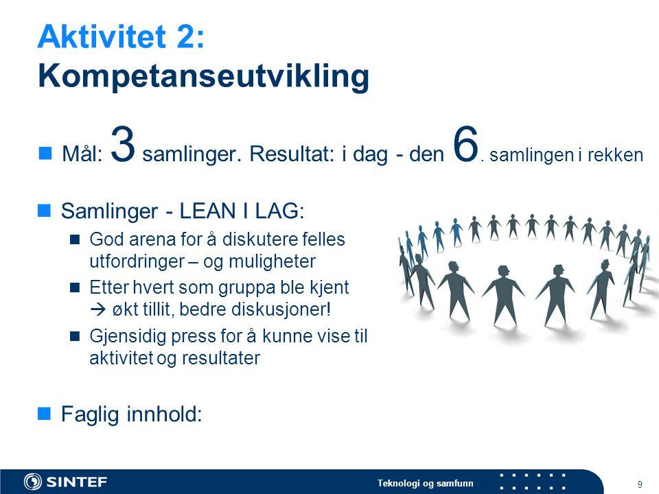 Teknologi og samfunn Aktivitet 2: Kompetanseutvikling 9  Mål: 3 samlinger. Resultat: i dag - den 6. samlingen i rekken  Samlinger - LEAN I LAG:  Go