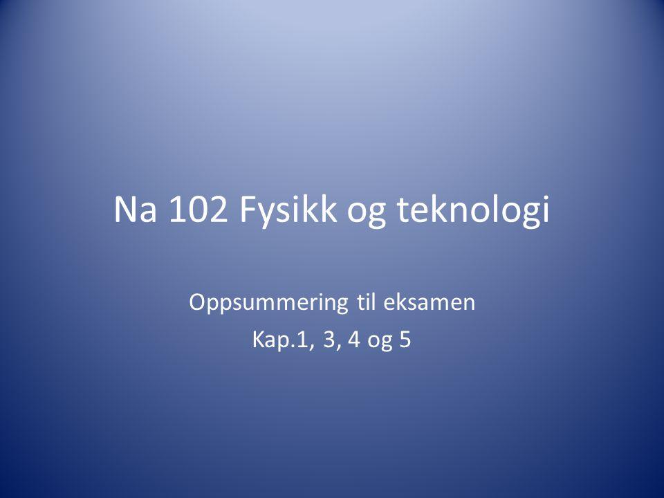 Na 102 Fysikk og teknologi Oppsummering til eksamen Kap.1, 3, 4 og 5