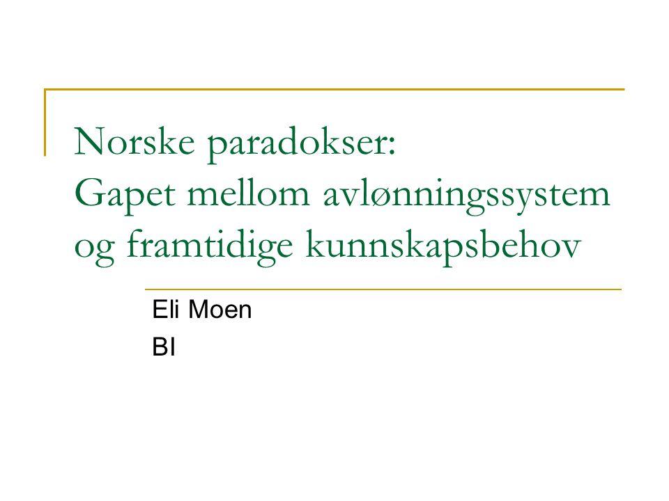 Norske paradokser: Gapet mellom avlønningssystem og framtidige kunnskapsbehov Eli Moen BI