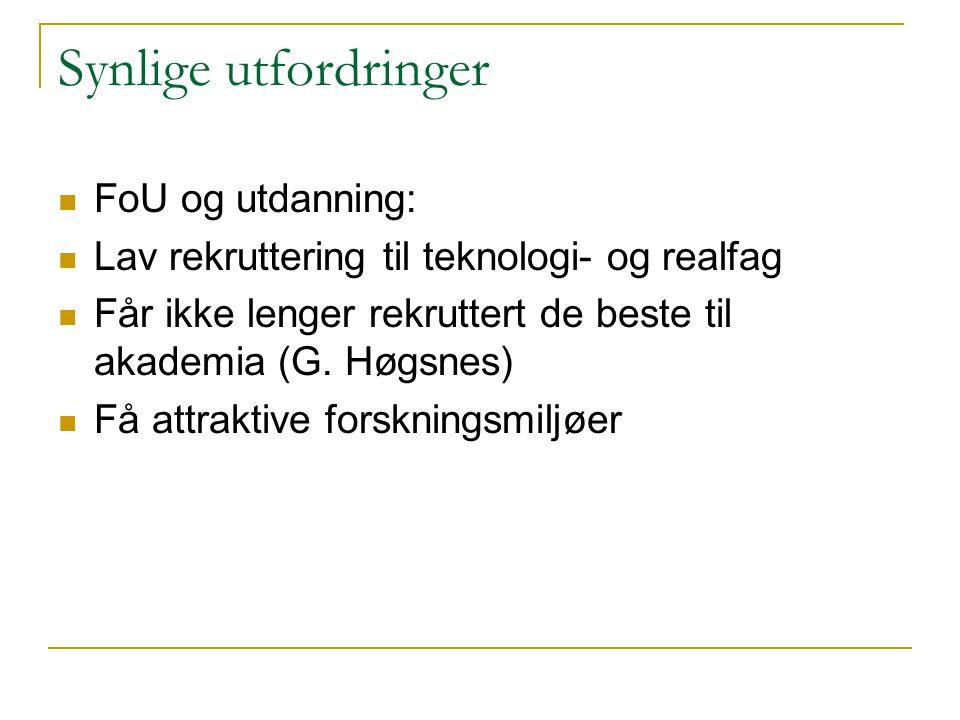 Synlige utfordringer  FoU og utdanning:  Lav rekruttering til teknologi- og realfag  Får ikke lenger rekruttert de beste til akademia (G. Høgsnes)