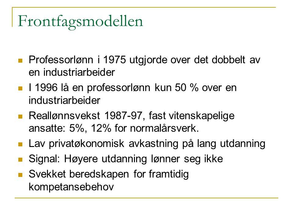 Frontfagsmodellen  Professorlønn i 1975 utgjorde over det dobbelt av en industriarbeider  I 1996 lå en professorlønn kun 50 % over en industriarbeid