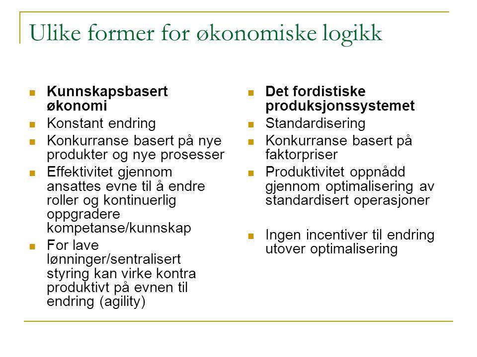 Ulike former for økonomiske logikk  Kunnskapsbasert økonomi  Konstant endring  Konkurranse basert på nye produkter og nye prosesser  Effektivitet
