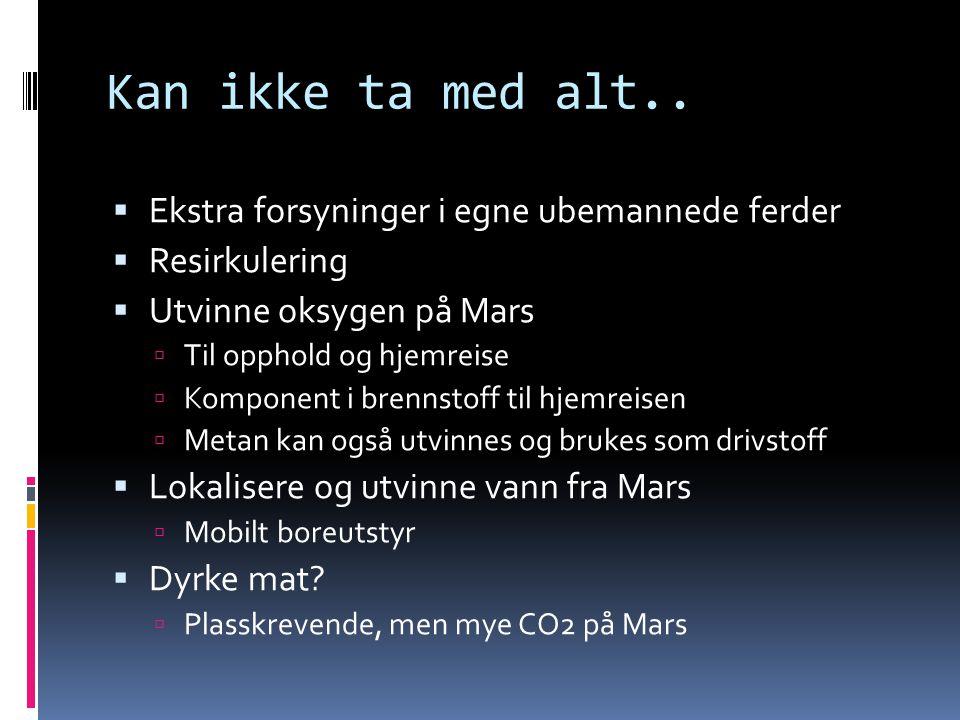 Kan ikke ta med alt..  Ekstra forsyninger i egne ubemannede ferder  Resirkulering  Utvinne oksygen på Mars  Til opphold og hjemreise  Komponent i