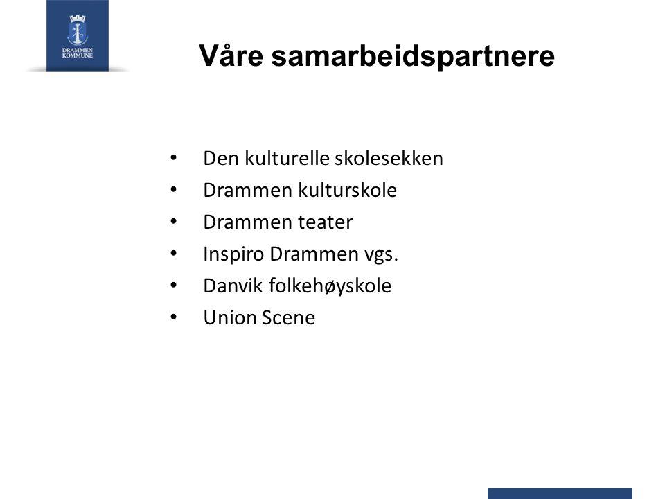 Våre samarbeidspartnere • Den kulturelle skolesekken • Drammen kulturskole • Drammen teater • Inspiro Drammen vgs. • Danvik folkehøyskole • Union Scen