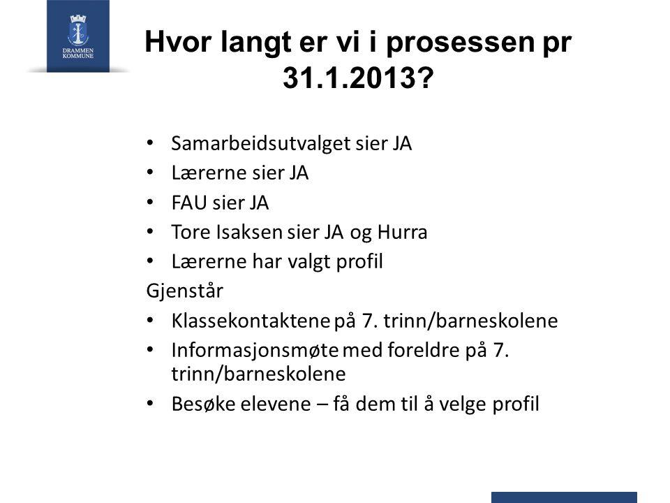 Hvor langt er vi i prosessen pr 31.1.2013.