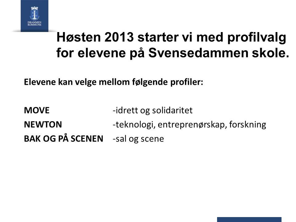 Høsten 2013 starter vi med profilvalg for elevene på Svensedammen skole. Elevene kan velge mellom følgende profiler: MOVE -idrett og solidaritet NEWTO