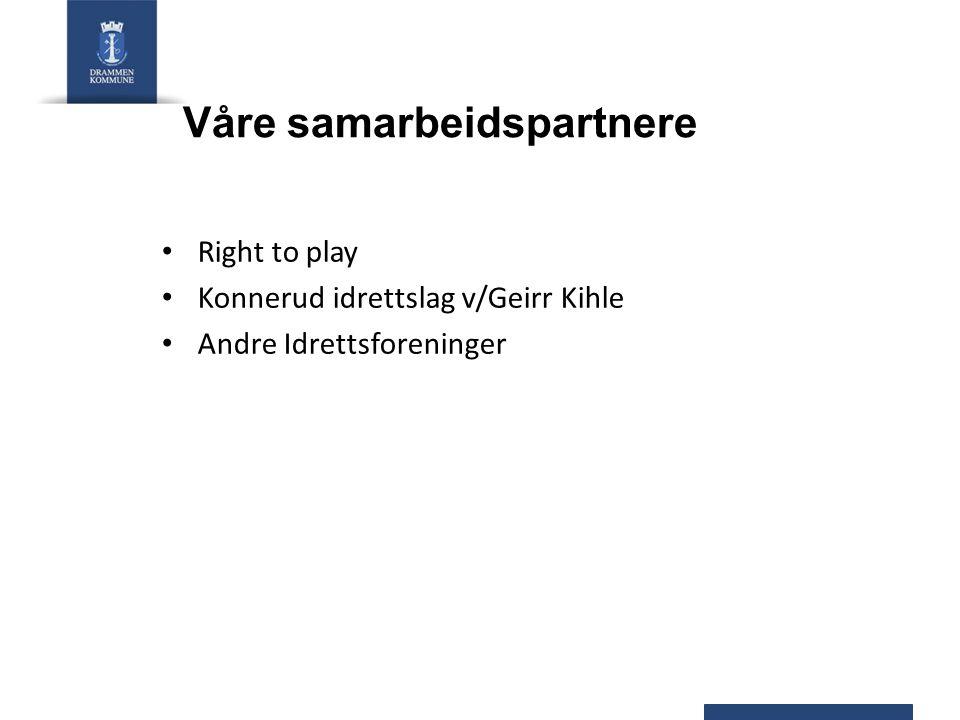 Våre samarbeidspartnere • Right to play • Konnerud idrettslag v/Geirr Kihle • Andre Idrettsforeninger