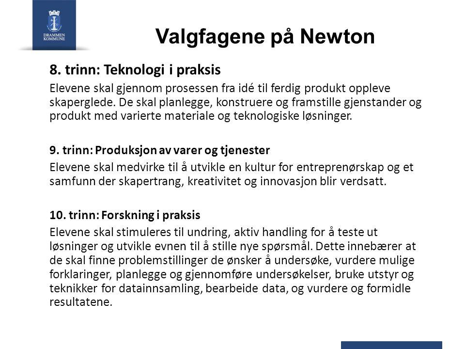 Valgfagene på Newton 8.