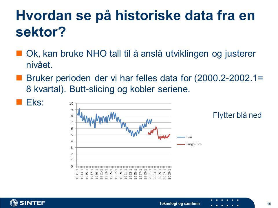 Teknologi og samfunn Hvordan se på historiske data fra en sektor.